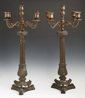 Pair of French Empire Style Patinated Bronze Five Light