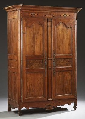French Louis XV Style Inlaid Carved Walnut Armoire,