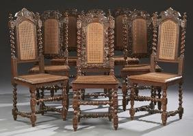 Set of Six French Louis XIII Style Carved Oak Dining