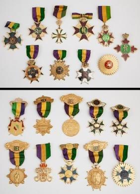 Mardi Gras- Group of Twenty Rex Ducal Badges,