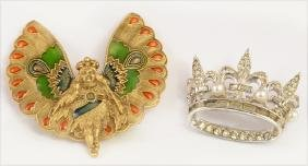 Mardi Gras- Two Items, consisting of an enamel and gilt