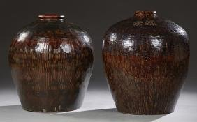 Monumental Pair of Chinese Glazed Baluster Urns, 20th