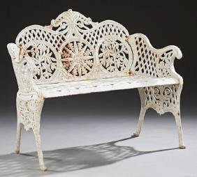 English Style Cast Iron Garden Bench, 20th c., the