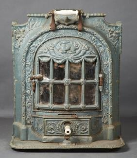 French Cast Iron Enameled Room Heater, 19th c., by E.