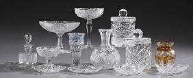 Group of Fourteen Pieces of Cut Glass, 20th c.,