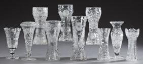 Group of Ten American Cut Glass Vases, 20th c., five