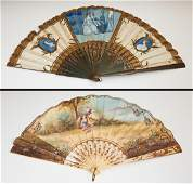 Two Ladys Hand Painted Folding Paper Fans c 1900