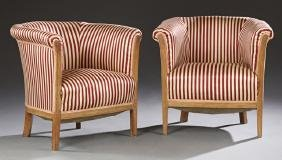 Pair of French Louis XVI Style Carved Walnut Bergeres,