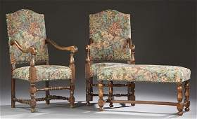 French Louis XII Style Carved Walnut Three Piece Parlor