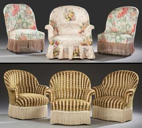 Group of Six French Carved Beech Chairs, c. 1970,