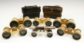 Group of Six Pair of Opera Glasses, c. 1900, one of