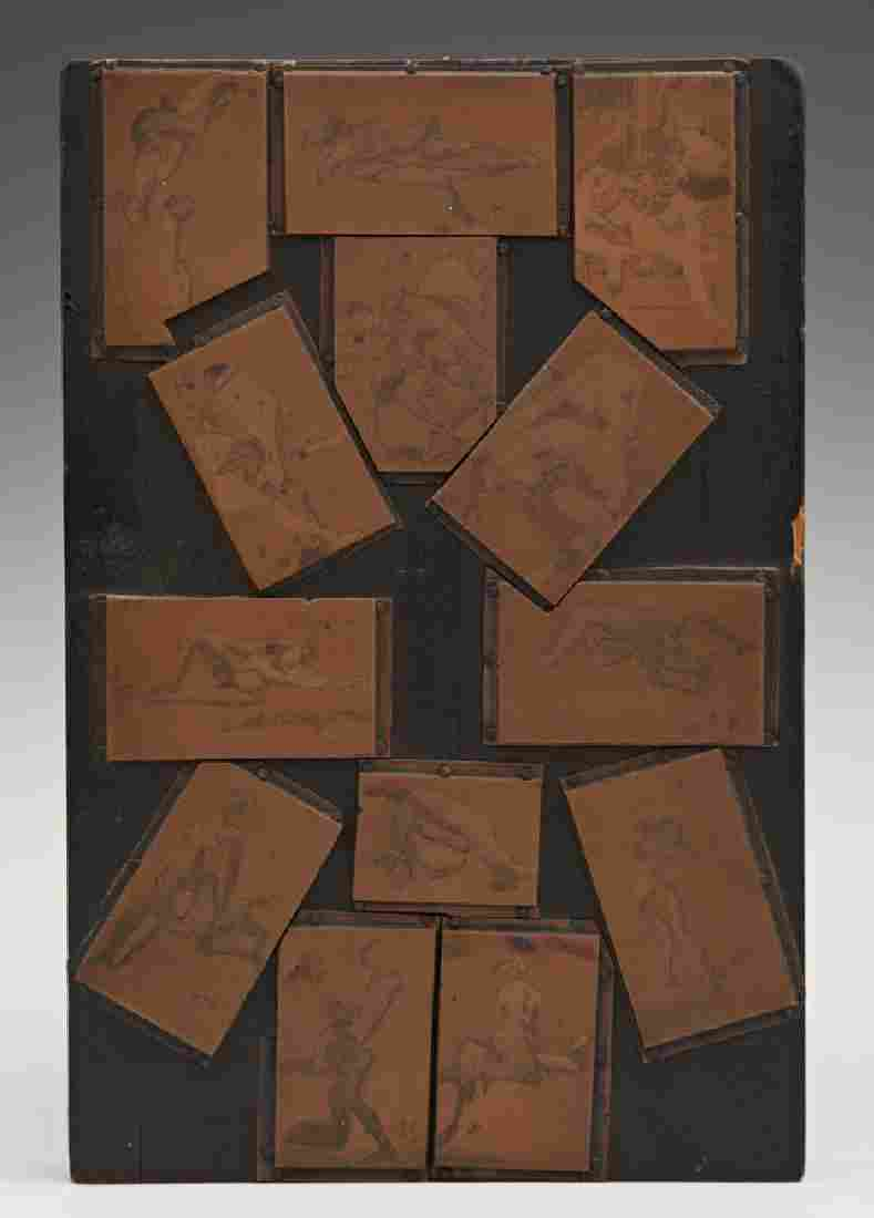Unusual Group of Thirteen Copper Lithograph Plates,