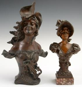 Two French Art Nouveau Patinated Spelter Cabinet Busts,