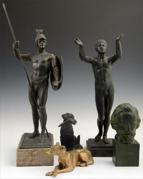 Group of Five Metal Cabinet Figures, 19th and 20th c.,