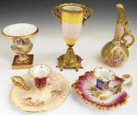 Group of Five Pieces of Continental Porcelain, 19th c.,