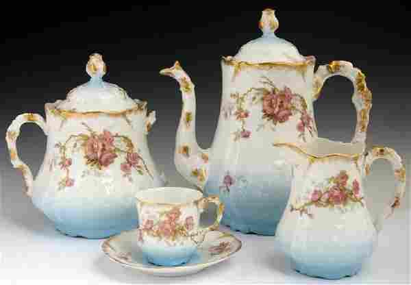 Twenty-Five Piece French Limoges Porcelain Tea Set, c.