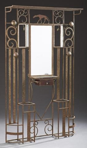 French Art Deco Wrought Iron Hall Tree, 20th c., the