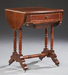 French Carved Mahogany Drop Leaf Work Table, early 20th