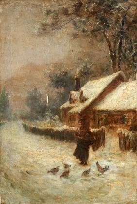 "Continental School, ""Woman Feeding Chickens in Winter,"