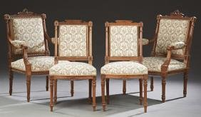 French Louis XVI Style Carved Walnut Four Piece Salon