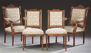 French Louis XVI Style Carved Walnut Four Piece Salon