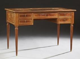 French Louis XVI Style Inlaid Carved Mahogany Desk,
