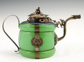 Chinese Jade, Silver and Cloisonne Teapot, 19th c., the