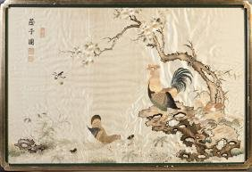 Chinese Embroidered Silk Panel, early 20th c., a