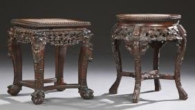 Two Chinese Carved Rosewood Marble Top Tabourets, early