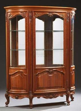 French Louis XV Style Carved Cherry Curved Glass Curio