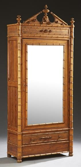 American Pine and Turned Maple Faux-Bamboo Armoire, in