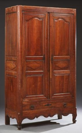 French Provincial Louis XV Style Carved Walnut Armoire,