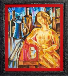 """French School, """"Cubist Nude Woman,"""" 20th c., signed in"""