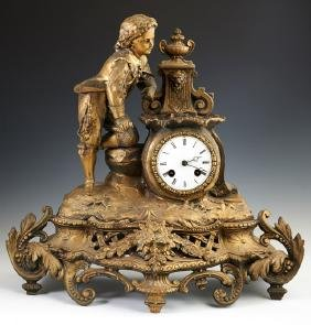 French Gilt Spelter Mantle Clock, late 19th c., by Japy