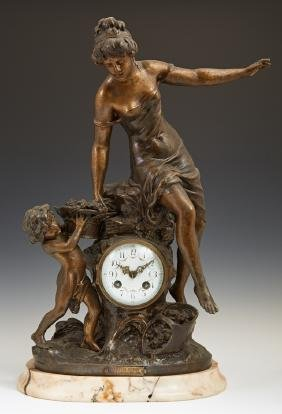 French Patinated Spelter Art Nouveau Mantel Clock, c.