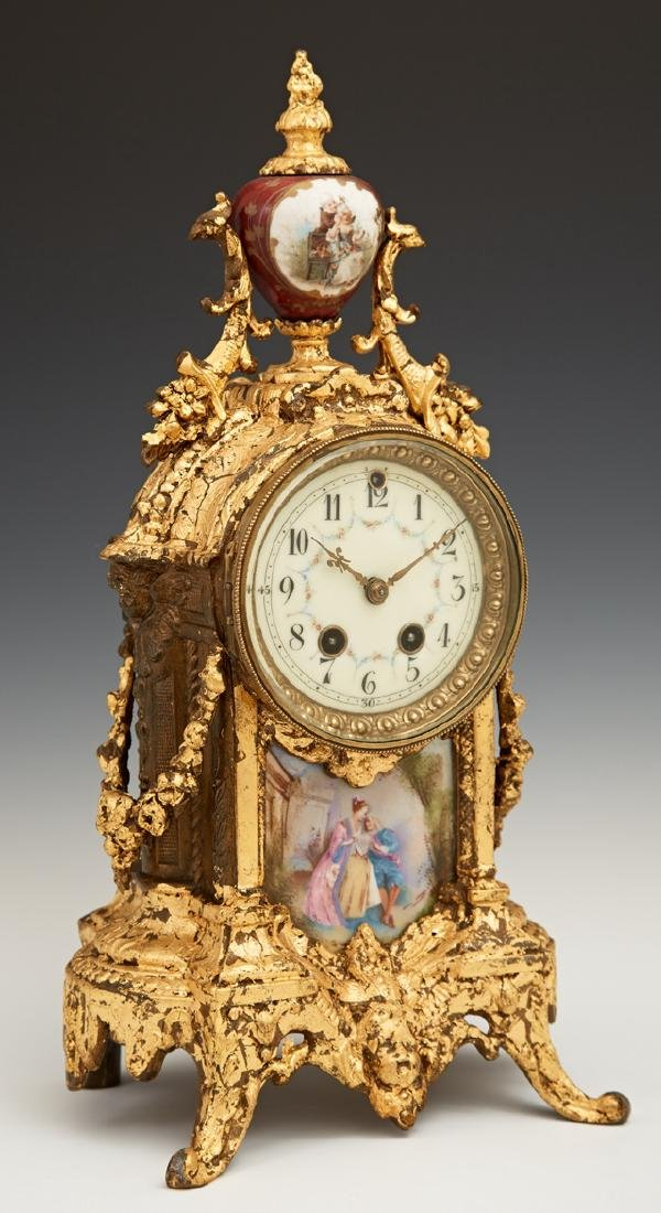 French Style Gilt Spelter Mantel Clock, early 20th c.,