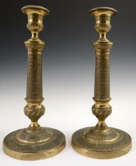 Pair of French Gilt Bronze Empire Candlesticks, 19th