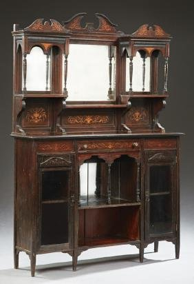 English Victorian Carved Rosewood Marquetry Inlaid