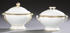 Pair of Limoges Porcelain Covered Footed Tureens, 19th