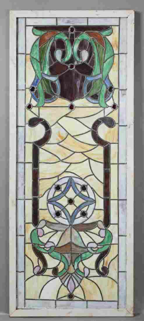 American Victorian Stained Leaded Slag Glass Panel, c.