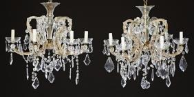 Pair of Cut Glass Prism Hung Six Light Maria Theresa