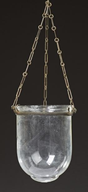 Blown Glass Hanging Lantern, 19th c., with a brass band