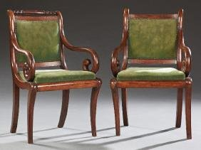 Pair of French Empire Style Mahogany Armchairs, 19th
