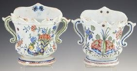 Pair of French Faience Wall Pockets, late 19th c., with