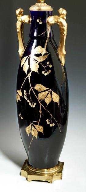 Large French Cobalt Porcelain Lamp, early 20th c., of