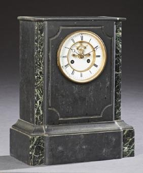 French Black and Verde Antico Marble Open Escapement