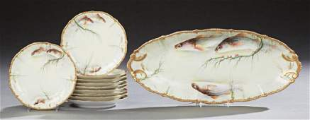 French Eleven Piece Hand Painted Limoges Fish Set 20th
