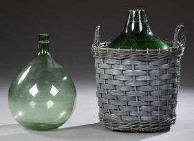 Two Mold Blown Green Glass Wine Carboys, 19th c., from