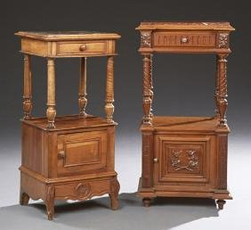 Two French Carved Walnut Marble Top Nightstands, 19th