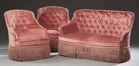 French Three Piece Carved Walnut Parlor Set, 20th c.,